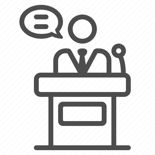 businessman, man, podium, politician, presentation, speech, teacher icon