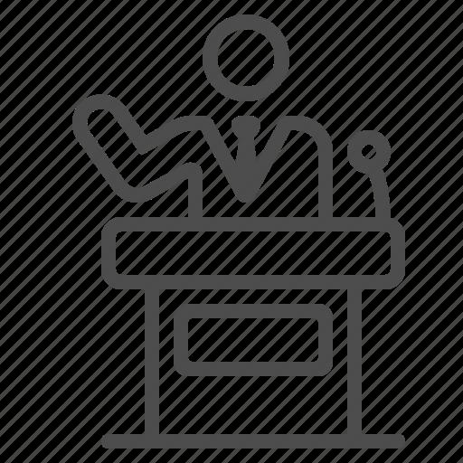businessman, lectern, man, podium, politician, presentation, speech icon