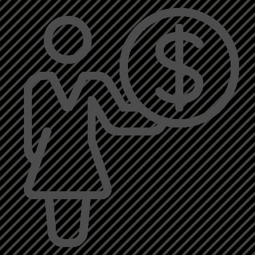 buying, girl, money, paying, shopping, wealth, woman icon