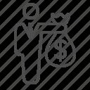 banker, businessman, donation, loan, man, money bag, shopping