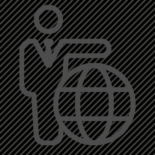 Businessman, globe, man, tourism, tourist, travel, travel agent icon - Download on Iconfinder