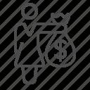 banker, businesswoman, donation, loan, money bag, shopping, woman icon