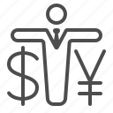 businessman, dollar, man, money, wealth, yen, yuan icon