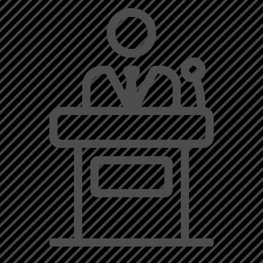 businessman, conference, man, podium, politician, presentation, speech icon