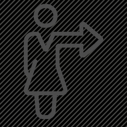 arrow, businesswoman, direction, girl, people, teacher, woman icon