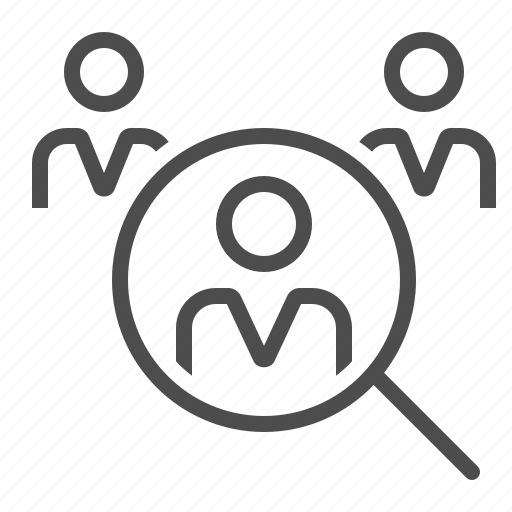 employment, human resources, magnifying glass, man, people, search, woman icon