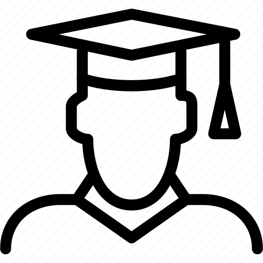 college, creative, education, graduate, graduation, grid, hat, line, male, man, people, shape, student, study, university icon