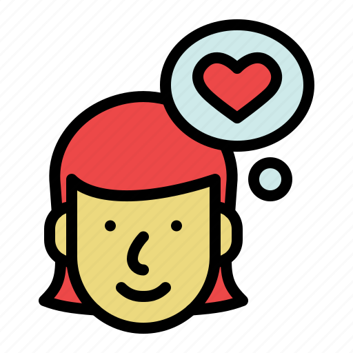 Face, female, in love, people, thinking, woman icon - Download on Iconfinder