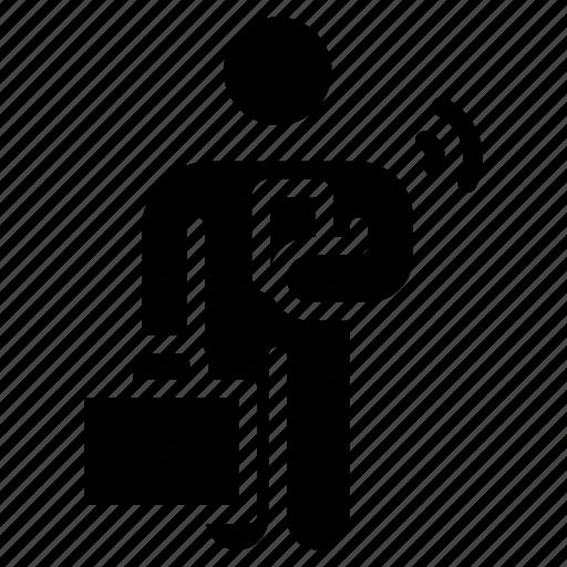 businessman using phone, holding mobile, man using phone, man with mobile, mobile addiction, smartphone usage icon