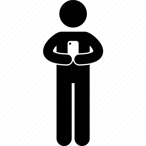 addict, cellphone, holding, man, smartphone, texting, typing icon