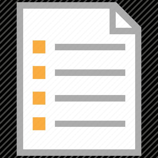 Document, file, menu, note, report, schedule, task list ...