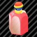bottle, cherry, cosmetic, glass, isometric, object, perfume