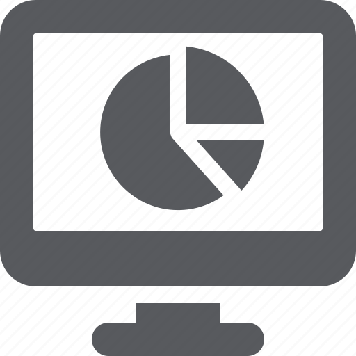 monitor, pie chart, web analytics icon