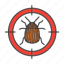 bug, colorado, insect, pest, potato, search, target icon