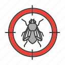 fly, flying, housefly, insect, pest, search, target icon