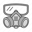 control, equipment, face, gas mask, pest, protection, respirator icon