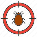 bug, insect, mite, parasite, pest, search, target icon
