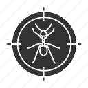 aim, ant, control, insect, pest, search, target icon