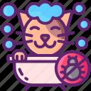bath, cat, flea, shower