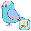 bird, grooming, pet icon