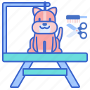 grooming, pet, table icon