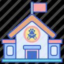 animal, grooming, pet, school icon