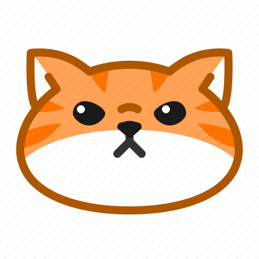 cat, cute, emoticon, flat face, poker face icon