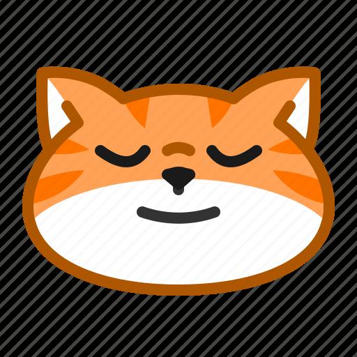 calm, cat, cute, emoticon, peaceful icon