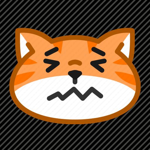 cat, cute, emoticon, sick, upset icon