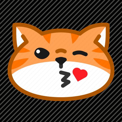 cat, cute, emoticon, kiss, love icon