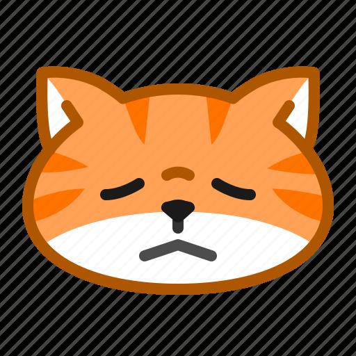 cat, cute, emoticon, sad, tired icon