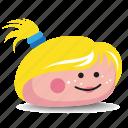 blonde-hair, girl, pet-rock, pony-tail, rock icon