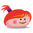 girl, pet-rock, pony-tail, red-hair, rock icon