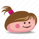 brown-hair, girl, pet-rock, pony-tail, rock icon