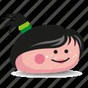 black-hair, girl, pet-rock, pony-tail, rock icon