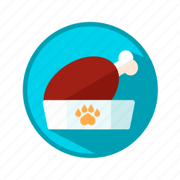 bowl, dog, food, meat, puppy icon