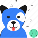 dog, ball, animal, sports icon