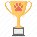 achievement, cup, dog prize cup, dog trophy, pet award icon