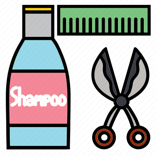 cleaning, comb, pet, pets, scissors, shampoo, treatment icon
