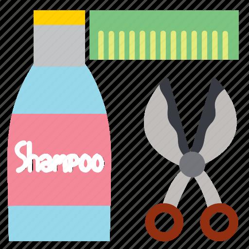 cleaning, comb, pet, pets, scissors, shampoo, treatment icon