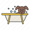 bath, bathing, bathtub, dog, grooming, hygiene, wash icon