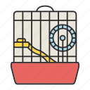 cage, hamster, house, mouse, pet, rodent, wheel