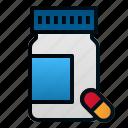 bottle, capsule, health, hospital, medicine, pharmacy icon