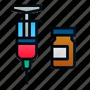 health, hospital, injection, medicine, pharmacy, syringe, vaccination icon