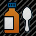 bottle, health, hospital, medicine, pharmacy, spoon, syrup icon