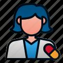 avatar, female, health, hospital, pharmacist, pharmacy icon