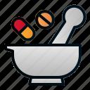 health, hospital, medicine, mortar, pharmacy icon
