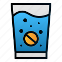 effervescent, glass, health, hospital, medicine, pharmacy, water icon