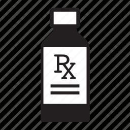 bottle, cough syrup, doctor, health, liquid medicine, rx icon