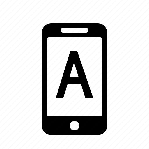 a, alphabet, letter, phone, smartphone, text icon